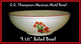 "C.C. Thompson Pottery Mexican Motif 9 1/2"" Salad Bowl"
