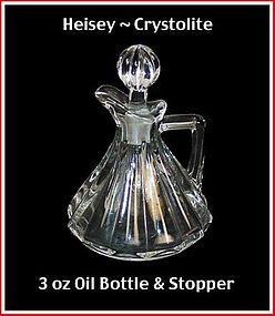 Heisey Crystolite 3 oz Oil Bottle & Stopper ~ Nice!
