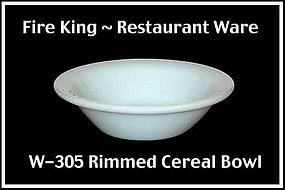 Fire King White Restaurant Ware W305 Rimmed Bowl