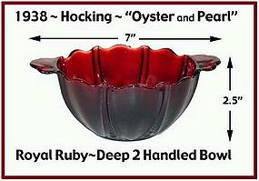 Hocking Royal Ruby Oyster and Pearl Unusual Bowl