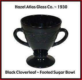 Hazel Atlas Black Cloverleaf Sugar Bowl Only