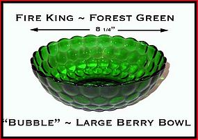 """Fire King Forest Green """"Bubble"""" Large Berry Bowl"""