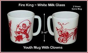 Fire King Red & White Youth Mug W/Clowns & Graphics