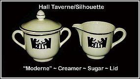 Hall Taverne Silhouette Modern Creamer Sugar & Lid